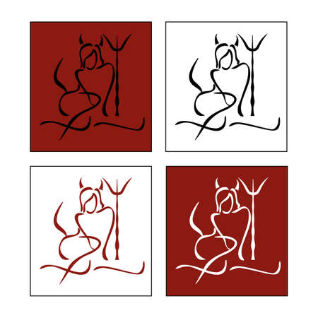 silhouette of woman Devil on various background  Vector