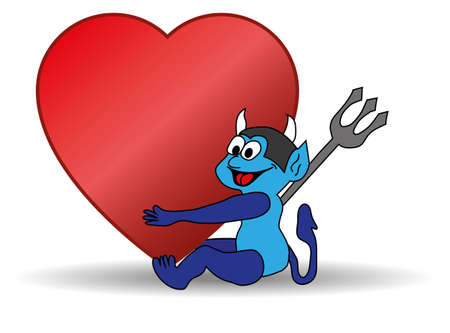 small blue devil holding a big Valentine heart Vector