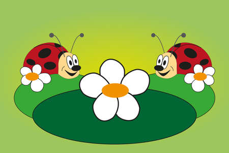 Funny picture of two lovely ladybug with green background Vector