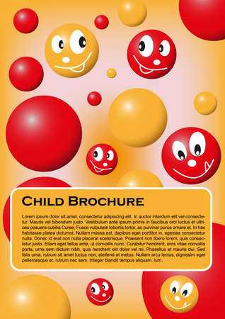 Cover for child brochure or notes  with colored smilies and balls Vector