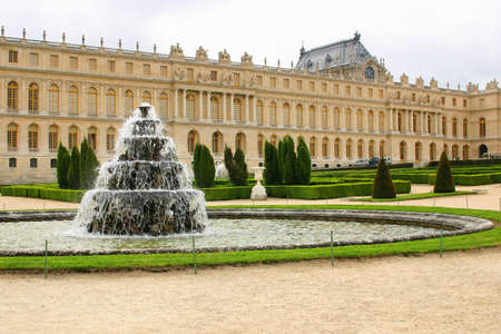 fountain with water in castle chateau Versailles