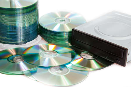 group of compact discs cd-rom and burner on a white background Stock Photo - 12678238