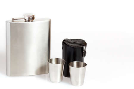 Hip flask and cups on white background Stock Photo - 12678214