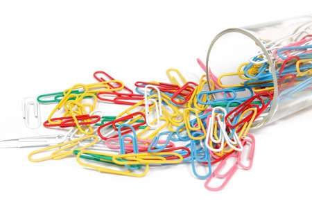 color paperclip spilled on the white background Stock Photo - 12678216