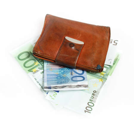 Leather wallet with euro banknotes on white background Stock Photo - 12678221