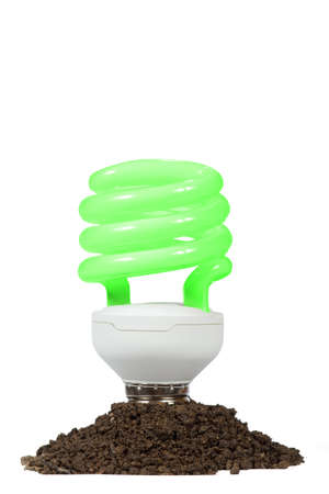 Conceptual  Energy saving lamp with green spiral on the white background Stock Photo - 12900043