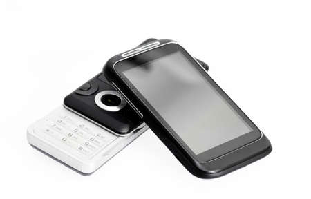 old phone and new smartphone on white background Stock Photo - 13454834