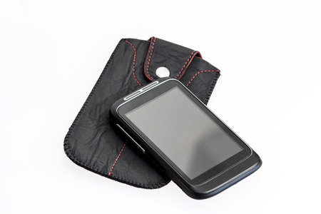 handsfree: smartphone with black case on white background Stock Photo