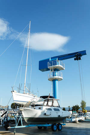crane in yachts service and shipyard in port Croatia photo