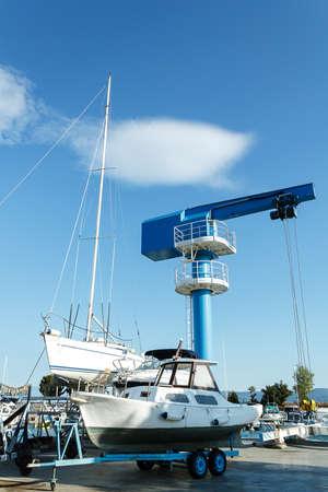 crane in yachts service and shipyard in port Croatia photo