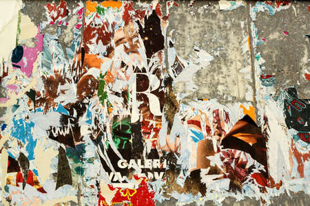 grunge background on billboard with old torn posters Banco de Imagens - 14403769