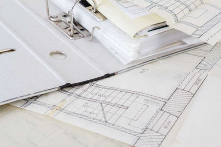 Architectural plans of the old paper tracing paper and file with the project Stock Photo - 15568584