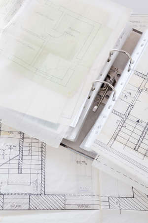 Architectural plans of the old paper tracing paper and file with the project photo