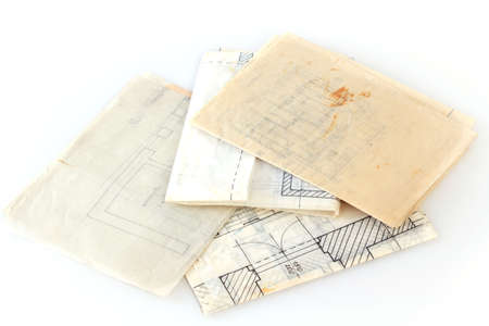 Architectural plans of the old paper tracing paper  Stock Photo - 15560992