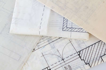 Architectural plans of the old paper tracing paper Stock Photo - 15560965
