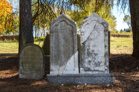unkempt: forgotten and unkempt Jewish cemetery with the strangers