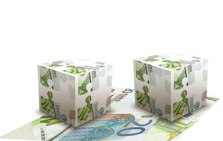 Concept of cubes made  from euro banknotes photo