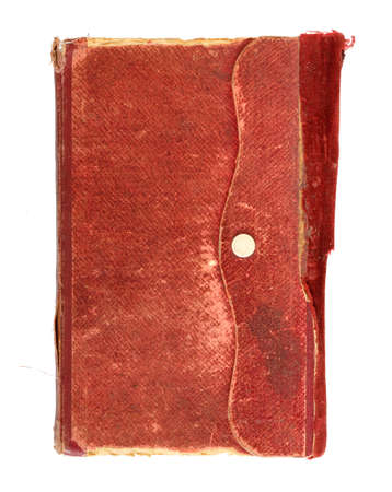 red leather texture: leather bound very old note book on white
