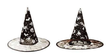 Black fabric witch hat for Halloween on white background Stock Photo - 16428056