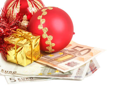 christmas debt: money concept with euro banknotes for christmas gifts on white background Stock Photo