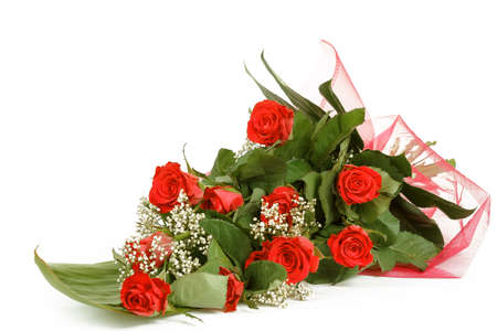 Bouquet of fresh red roses on white, with space for copy in the side photo