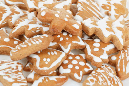 homemade christmas gingerbreads on white background Stock Photo - 17012122