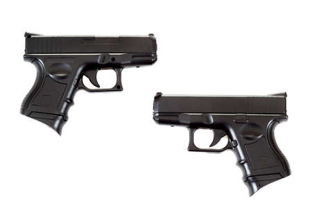 9mm: Black airsoft guns isolated on white background