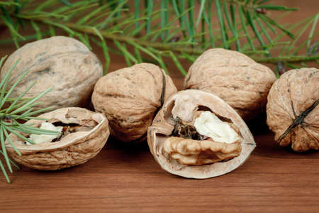 walnuts and a cracked walnut on wooden background with needles