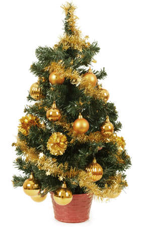 small christmas tree in pot with yellow balls on white background stock photo 17229928