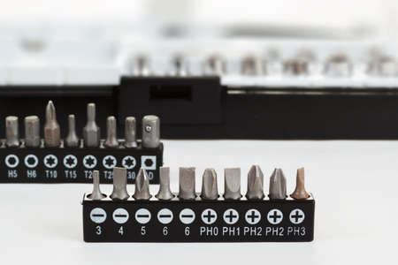 Screwdriver Bit Set on White with Clipping Path shallow focus photo