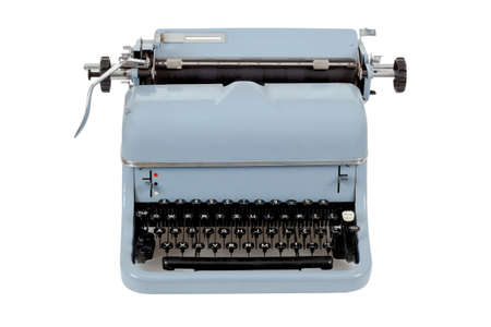 retro blue typewriter on white background photo