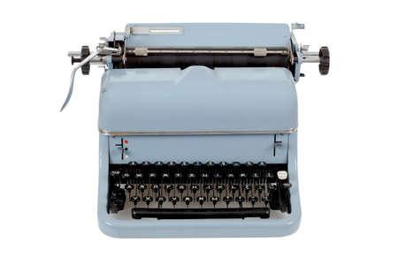 typewriter key: retro blue typewriter on white background