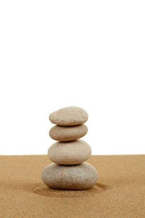 Balance zen stones in sand on white background Stock Photo - 17576793