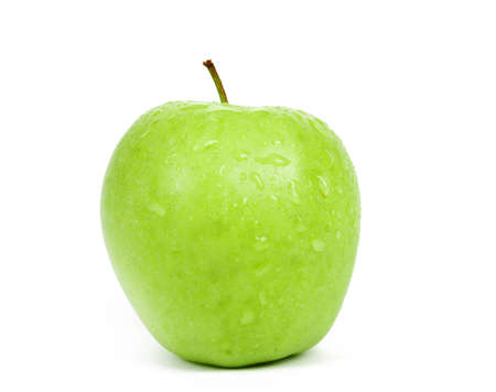 fresh Single Green Apple isolated on a white background  photo