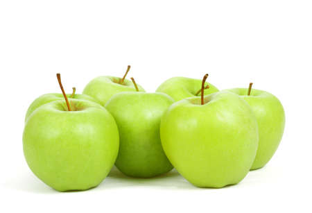 fresh seven green apples isolated on a white background  photo