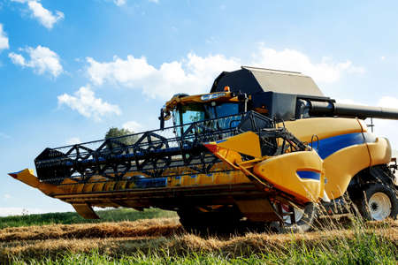 Yellov harvester on field harvesting wheat in sunny weather photo