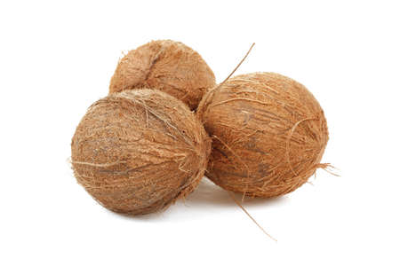 close up view of coconut on a white background  photo