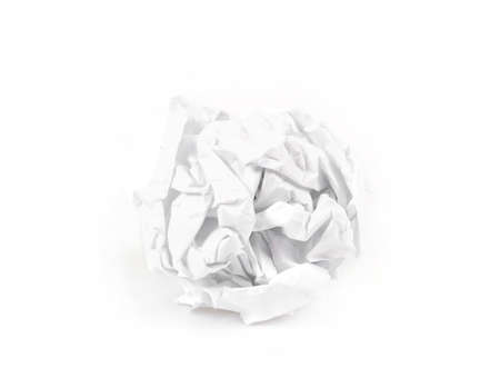 close-up of crumpled paper ball on white background photo