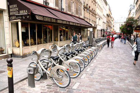 PARIS - May 7: Bicycle sharing station on May 7, 2009 in Paris, France. With more than 20 thousand bicycles, Paris sharing system is largest in Europe.