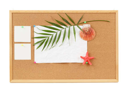 cocrboard with palm leave, crumpled paper and seashell for vacation message photo