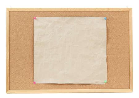 crumple: old empty crumple paper on cork board