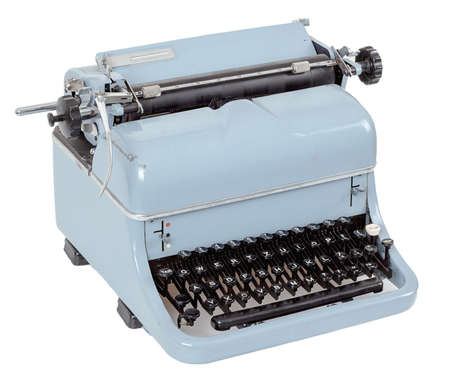 view retro blue typewriter on white background photo