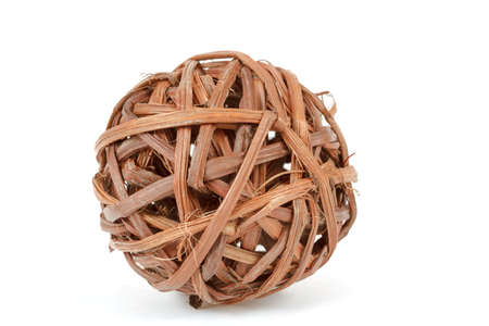 weave ball: decorative wicker wooden balls isolated on white