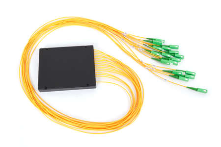 fiberoptic: fiber optic coupler with SC connectors on white background