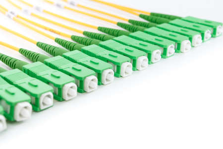 fiberoptic: green fiber optic SC connectors on white background