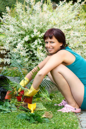 happy smiling middle age woman gardening, offsets the flowers in a pot Stock Photo