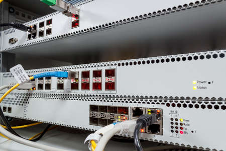 passive: Passive Optical network, technology center with fiber optic equipment