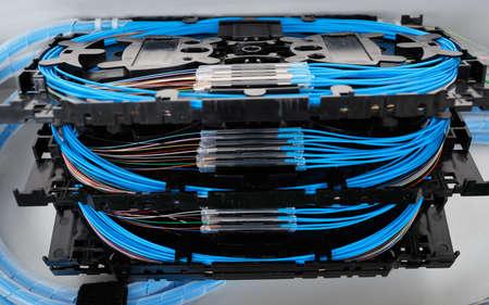 光分布フレームに取り付けられている保護スリーブと青繊維と光ファイバーのスタックのスプライスのカセット 写真素材