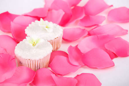 Cupcakes, muffins with white icing on white table with rose petals photo