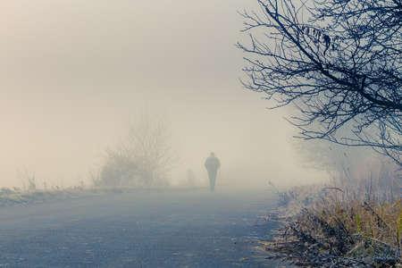 人は抽象的な色と劇的な日の出のシーンで霧霧道に歩く